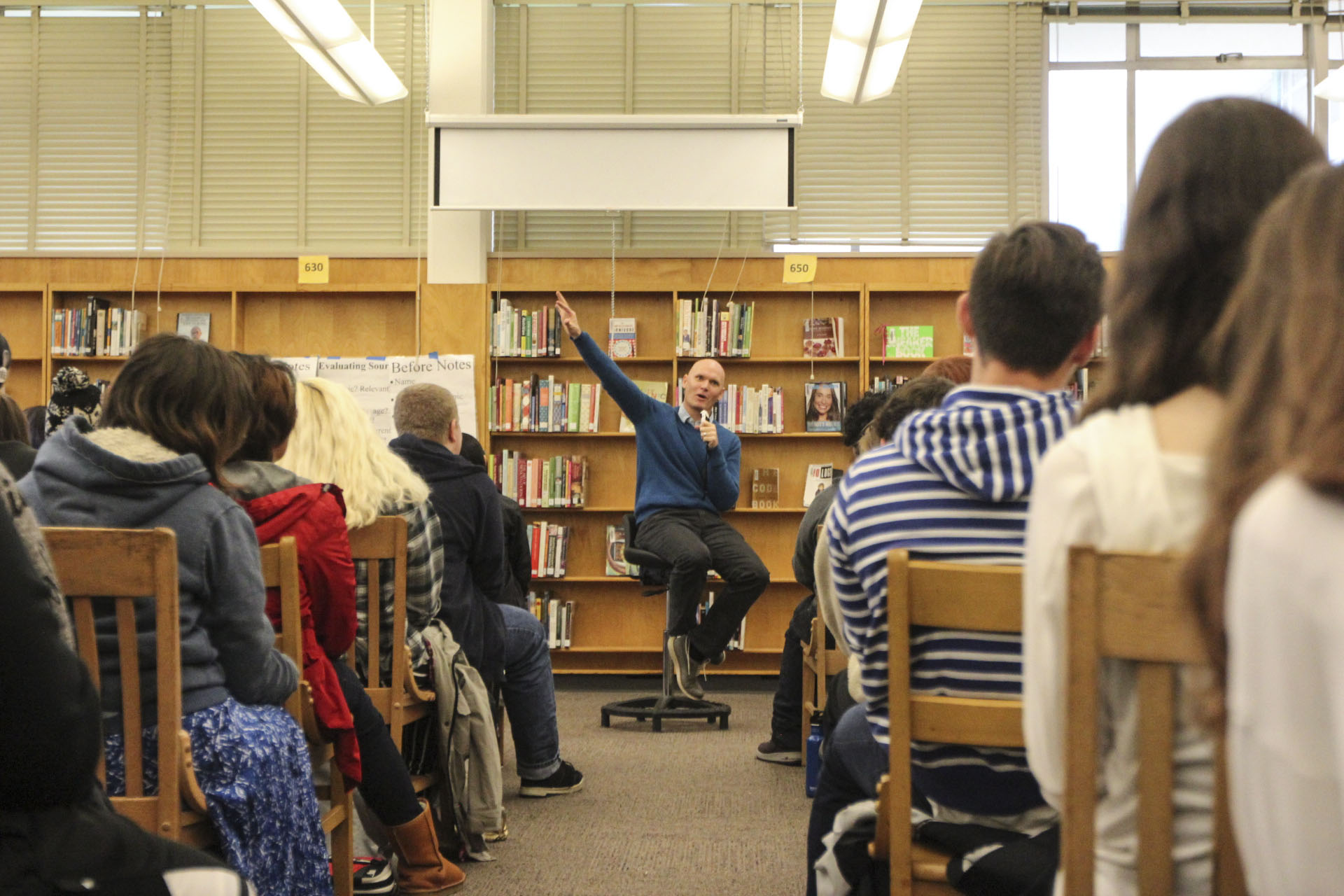 Image Credit: Portland Literary Arts. Anthony Doerr gives his presentation to a group of Portland middle school students.
